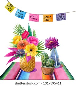 Watercolor mexican still life with tropical bouquet and pineapple,cactus with crock,blue glass vase with purple astra,tablecloth with stripes and colorful banner.