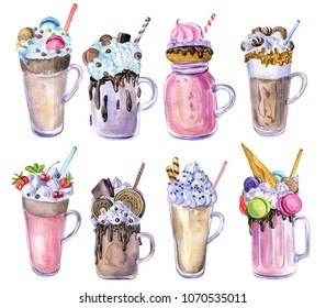 watercolor milkshakes with chocolate, berries, ice cream and macaroons, hand drawn illustration