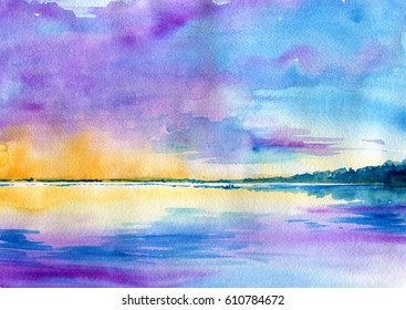 Watercolor minimalist abstract landscape: sea, sky, clouds and forest in the distance on a special textured paper. The Gulf of Finland.