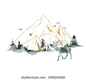 Watercolor minimalistic landscape of forest, mountains and deer. Hand painted abstract and gold linear mountains. Illustrations isolated on white background. For design, print, fabric or background