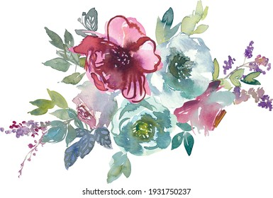 Watercolor mint and mauve taupe flowers isolated on white background. Beautiful floral composition. Design for textile, wallpapers, greeting cards.
