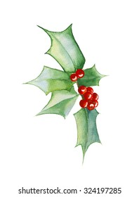 Watercolor mistletoe