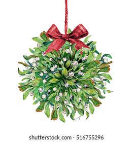 Watercolor Mistletoe Kissing Ball With Red Burlap Bow Isolated on White. Traditional Christmas Winter Plant Bouquet. New Year Eve Decoration. Vintage Style Clip Art.