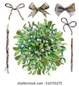 Watercolor Mistletoe Kissing Ball With Twine Bows and Ropes Collection Isolated on White. Traditional Christmas Winter Plant Bouquet. New Year Eve Decoration. Vintage Style Clip Art. DIY Boho Design.