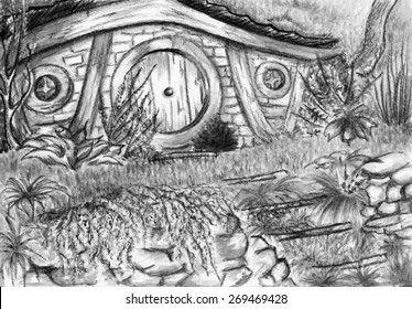 Watercolor monochrome black and white hobbit's home