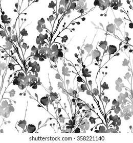 watercolor monochrome imprints of flowering branches - hand drawn seamless pattern - digital mixed media artwork for textiles, fabrics, souvenirs, packaging, greeting cards and scrapbooking
