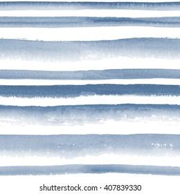 Watercolor monochrome indigo striped seamless pattern