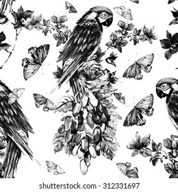 Watercolor monochrome parrots, tropical flowers, orchid, butterflies, rose, grapes. Beautiful seamless floral pattern background, hand painted