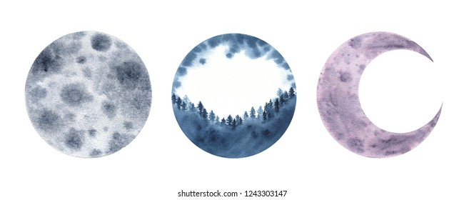 Watercolor moon crescent isolated on white background. Nature illustration design