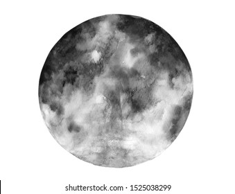 watercolor moon drawing abstract art