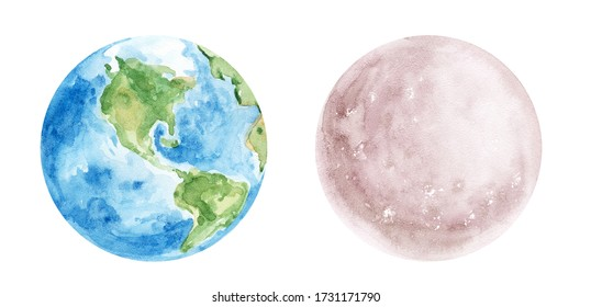 Watercolor Moon and Earth illustration. Hand painted clipart for cosmic patterns, print, invitation. Various space objects. Illustrations isolated on white background. World Earth day