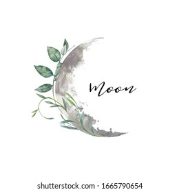 Watercolor moon and florals label. Isolated logo design with plants and lunar silhouette
