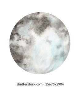 Watercolor moon on a white background