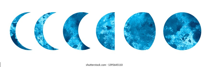 Watercolor moon phases, stages, cycle, crescent isolated on white background set. Hand painting on paper
