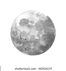 Watercolor moon. Raster hand drawn illustration.