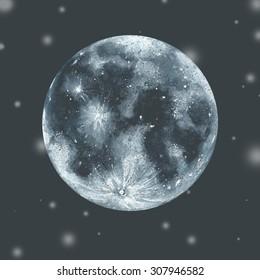 Watercolor moon in space