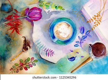 Watercolor morning breakfast coffee