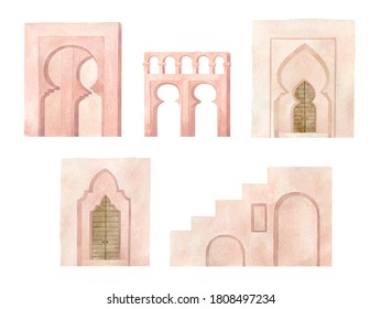 Watercolor Moroccan architecture elements. Old historical arch in pink color, north african symbol.