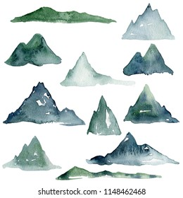 Watercolor mountain drawing, illustration, love green nature, ecology, eco, green nature