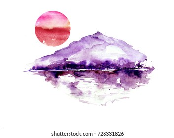 Watercolor mountain landscape, blue, purple mountains, peak, forest silhouette, reflection in the river, red sunset sun. On white isolated background. On white isolated background.