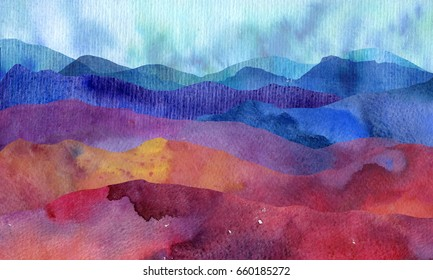 watercolor mountain landscape with hills and grass,abstract nature background