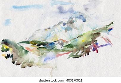 watercolor mountain outdoor