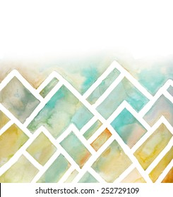 Watercolor Mountains Background with Abstract Geometric Angles