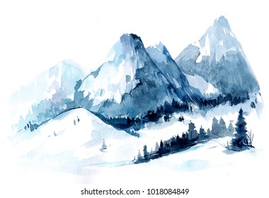 Watercolor Mountains. Hand drawn illustration