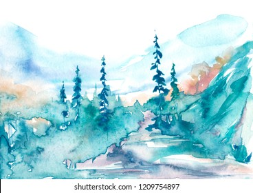 Watercolor mountains. Watercolor picture of mountains, forest with pine trees, fir, cedar. Foggy forest. Abstract vintage spots of blue, green. Postcard, picture, poster, logo.
