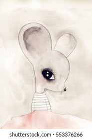watercolor mouse drawing