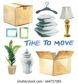 Watercolor moving carton boxes for transportation of home interior furniture such as pillows, hanger, lamp, vase, plant etc. and time to move lettering isolated on white background
