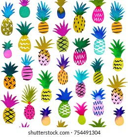 Watercolor multi-color sketchy pineapples, seamless pattern. Hand painted tropical summer wallpaper. Cute hawaiian pineapples on white background. Jpeg image.