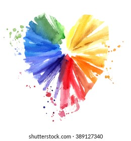 Watercolor multicolored heart, Rainbow heart with splashes. Hand drawn element for your design