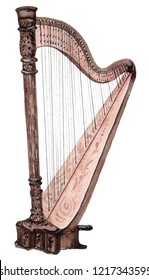 Watercolor musical strings instrument, harp isolated on white background. Classic music