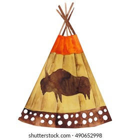 Watercolor native american tepee wigwam. Hand drawn tribal design element isolated on white background. Vector clip art