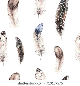 Watercolor natural birds feathers boho pattern. Bohemian Seamless texture with hand drawn feathers. Feather boho illustration for your design. Bright blue colors decoration.
