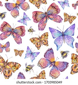 Watercolor natural colorful butterfly seamless pattern. Summer insect texture on white background.