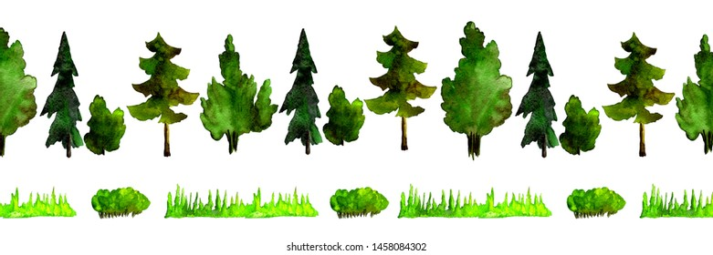 Watercolor natural elements isolated on white background. Forest illustration for design, print.Hand drawn.