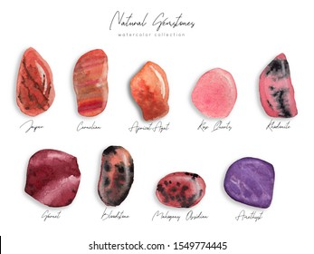 Watercolor Natural Gemstones collection, jasper, carnelian, agat, amethyst, bloodstone