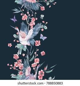 Watercolor nature seamless border with crane, pink flowers blooming branches of cherry, peach, pear, sakura, apple trees and butterflies on black background, Hand painted spring illustration