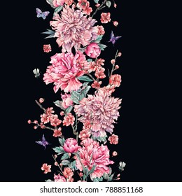 Watercolor nature seamless border with pink flowers blooming branches of cherry, peonies, butterflies and bee on black background, Floral spring illustration