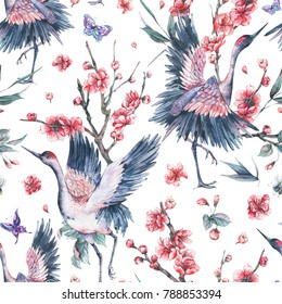 Watercolor nature seamless patern with crane, pink flowers blooming branches of cherry, peach, pear, sakura, apple trees and butterflies on white background, Hand painted spring illustration