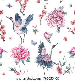 Watercolor nature seamless pattern with crane, pink flowers blooming branches of cherry, peonies and bee on white background, Spring decoration, Hand painted illustration