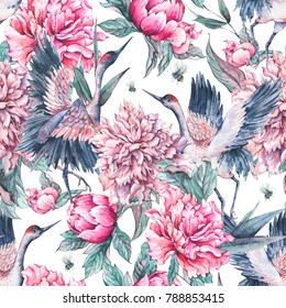 Watercolor nature seamless pattern with crane, pink flowers blooming peonies and bee on white background, Summer decoration, Hand painted illustration