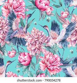 Watercolor nature seamless pattern with crane, pink flowers blooming peonies and bee on blue background, Summer decoration, Hand painted illustration