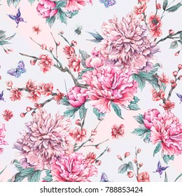Watercolor nature seamless pattern with pink flowers blooming branches of cherry, peonies, butterflies and bee on pink background, Floral spring illustration