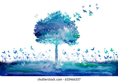 Watercolor Nature tree and butterflies. Raster