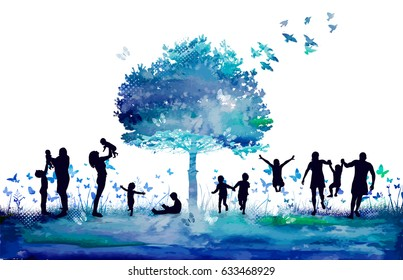 Watercolor Nature tree and Silhouettes of the family. Raster