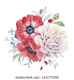Watercolor nautical bouquet. Floral decoration bohemian design. Watercolor isolated. Perfect for invitation, wedding or greeting cards.