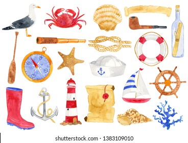 Watercolor Nautical Elements Illustration, Nautical Clipart
